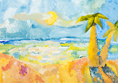 sand beach: childs drawing - palm trees on ocean coast in sunny day by watercolor gouache Stock Photo