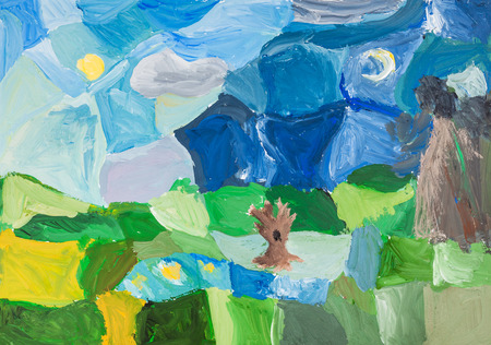 kid drawing: childs drawing - abstract landscape with green meadow, bare trees, lake, forest and blue night sky by watercolor gouache Stock Photo