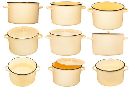 stockpot: set of large enamel stockpots isolated on white background Stock Photo
