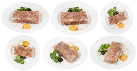 solidify: set of white plates with beef aspic isolated on white background