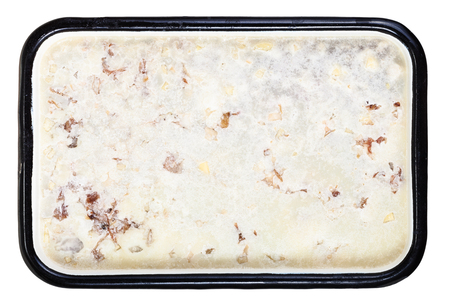 solidify: top view of congealed cow-heel with a layer of fat on the surface in pan isolated on white background