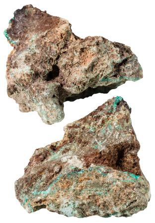 malachite: macro shooting of specimen natural rock - two pieces of Malachite mineral stone isolated on white background Stock Photo