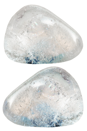 rhinestone: natural mineral gem stone - two rhinestone (rock-crystal) gemstones isolated on white background close up Stock Photo