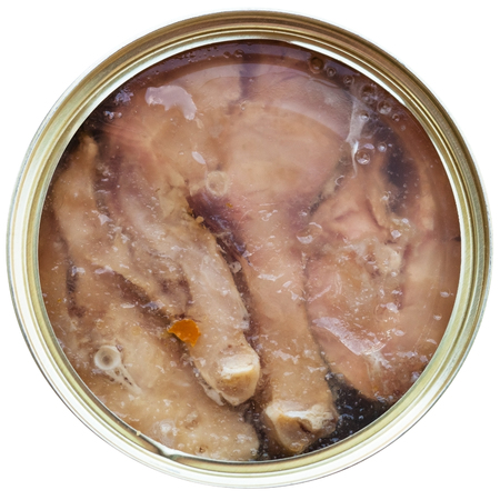 tinned: top view of tinned fish isolated on white background - broad whitefish in jelly