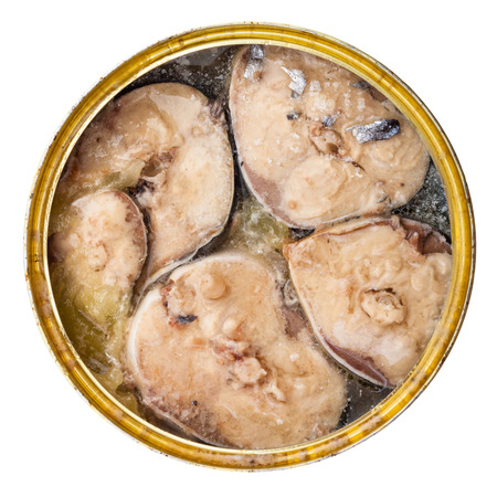 tinned goods: above view of canned fish isolated on white background -mackerel in its own juice Stock Photo