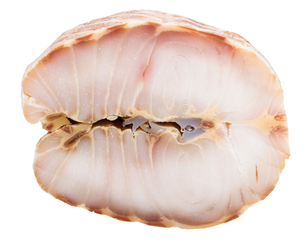 stellate: piece of hot smoked Starry sturgeon fish isolated on white background