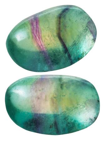 천연 미네랄 원석 - 흰색 배경에 고립 된 두 개의 녹색 fluorite (형석) 보석을 닫습니다. 스톡 콘텐츠