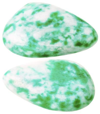 amazonite: natural mineral gem stone - two Amazonite (microcline feldspar) gemstones isolated on white background close up