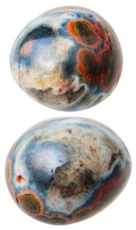 jasper: natural mineral gem stone - two Ocean (Orbicular) jasper gemstones isolated on white background close up