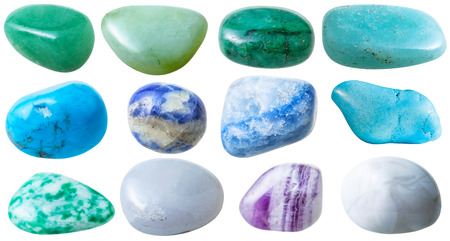 green gemstones: natural mineral gem stone - set from 12 pcs blue, green, white gemstones isolated on white background