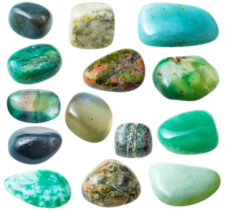 gemmology: natural mineral gem stone - set from 15 pcs green gemstones isolated on white background