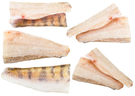 pikeperch: set of frozen zander (pike-perch) fish fillets isolated on white background