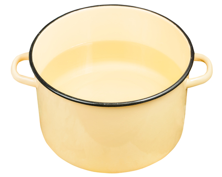stockpot: classic yellow enamel saucepot with water isolated on white background