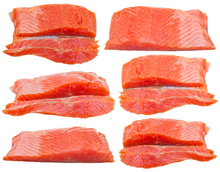 slightly: set from slightly salted trout red fish fillet pieces isolated on white background Stock Photo