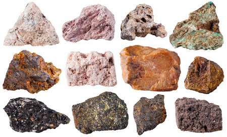 macro shooting of specimen natural rock - set from 12 pieces natural stones isolated on white background Stock Photo
