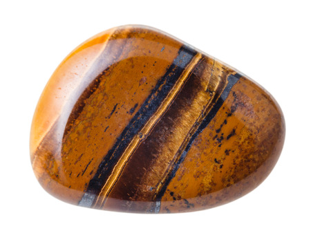 natural mineral gem stone - Tiger's eye (Tigers eye, Tiger eye) gemstone isolated on white background close up
