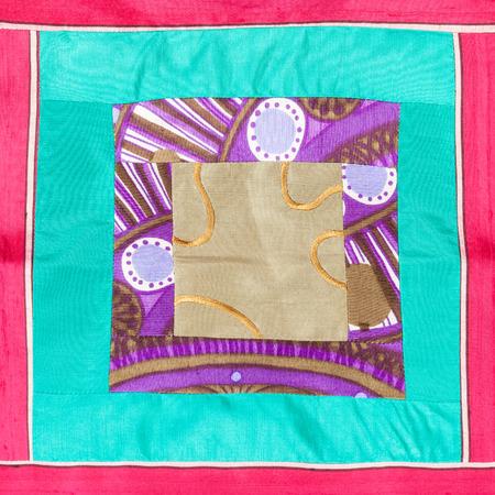 applique: textile background - square applique of patchwork cloth