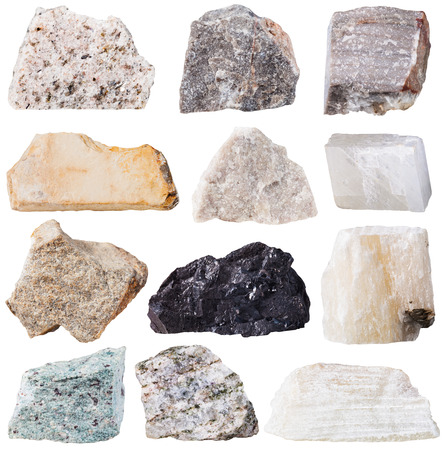 talc: macro shooting of specimen natural rock - set from 12 specimens of rock stones isolated on white background