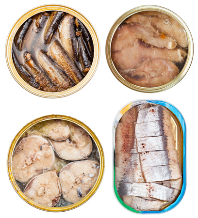 tinned goods: set on canned fish in open tins isolated on white background