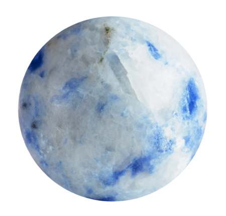 sodalite: round bead from Sodalite natural mineral gem stone isolated on white background Stock Photo
