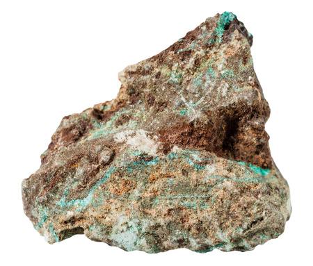 gemmology: macro shooting of specimen natural rock - Malachite mineral stone isolated on white background Stock Photo