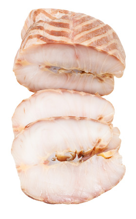 stellate: top view of two slices and piece of hot smoked stellate sturgeon fish isolated on white background
