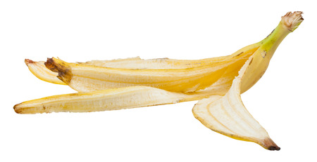 banana skin: side view of yellow banana skin isolated on white background