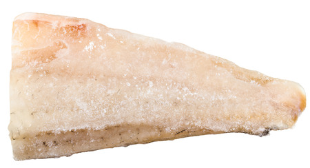 zander: uncooked frozen zander (pike-perch) fish fillet isolated on white background