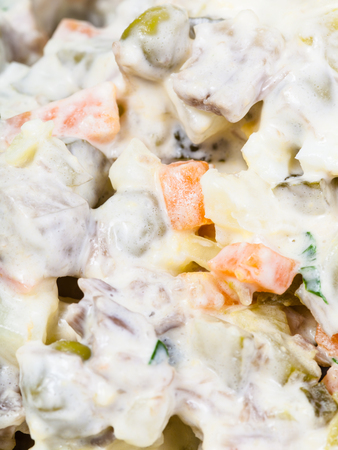 moscovian: olivier russian salad with mayonnaise close up Stock Photo