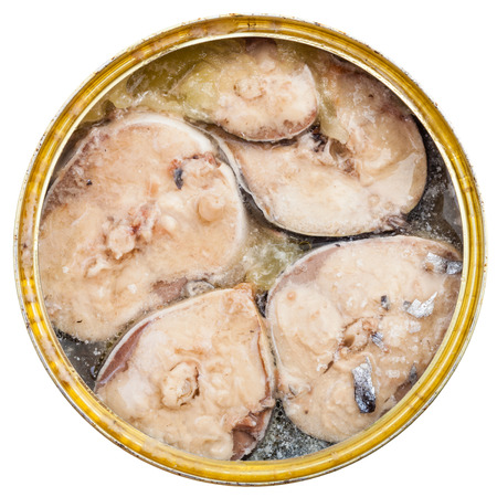 tinned: top view of tinned fish isolated on white background - mackerel fish in oil Stock Photo