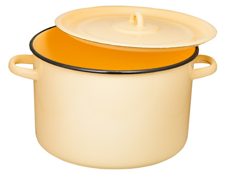 stockpot: classic enamel stockpot with slightly ajar cover isolated on white background Stock Photo