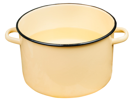 stockpot: classic big yellow enamel stockpot with water isolated on white background