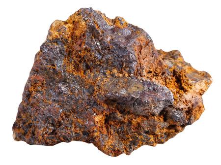 gemology: macro shooting of specimen natural rock - specimen of hematite (haematite, iron ore) mineral stone isolated on white background Stock Photo