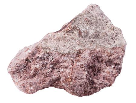 gemmology: macro shooting of specimen natural rock - specimen of Tuff (ash-tuff) mineral stone isolated on white background