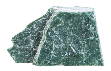 gemology: macro shooting of specimen natural rock - specimen of Phyllite mineral stone isolated on white background