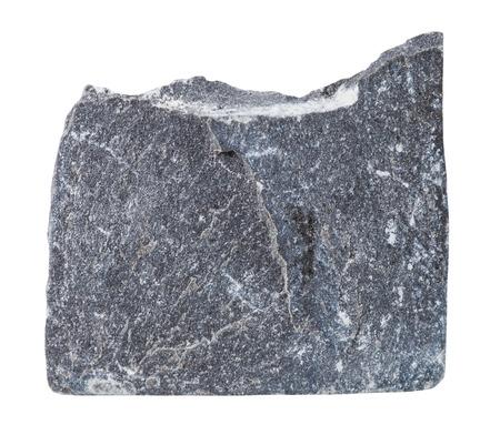 specimen: macro shooting of specimen natural rock - specimen of Slate mineral stone isolated on white background