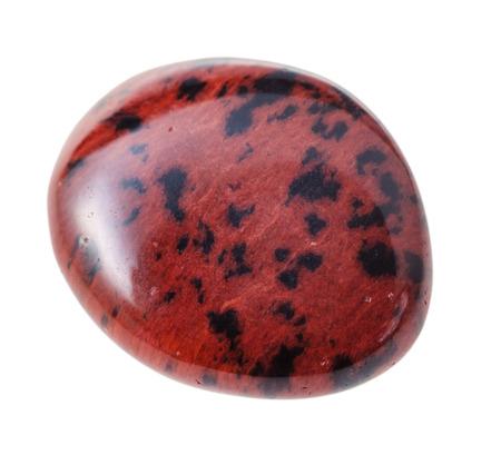 mahogany: natural mineral gem stone - Mahogany Obsidian gemstone pebble isolated on white background close up