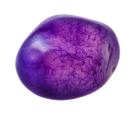 hued: natural mineral gem stone - blue-violet-toned quartz gemstone isolated on white background close up