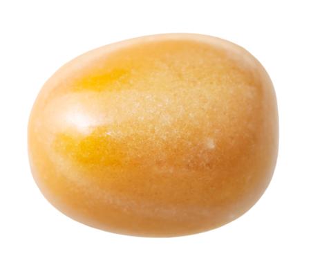 jasper: natural mineral gemstone - one yellow jasper gem stone isolated on white background close up Stock Photo