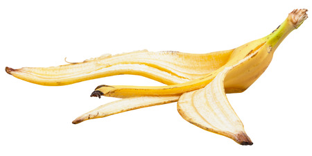 banana skin: side view of ripe banana skin isolated on white background