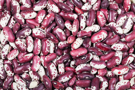 spotted: food background - many raw red spotted beans