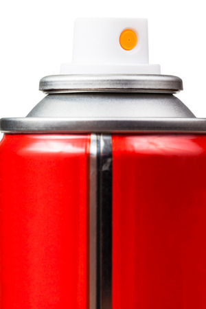 aerosol can: red aerosol can close up isolated on white background