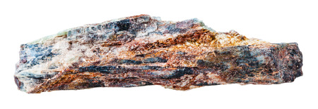 schist: macro shooting of collection natural rock - Schist mineral stone with mica and red Aventurine feldspar isolated on white background