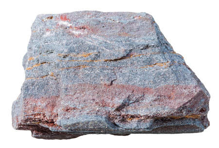 quartzite: macro shooting of collection natural rock - ferruginous quartzite (jaspillite, hematite,quartzite) mineral stone isolated on white background Stock Photo