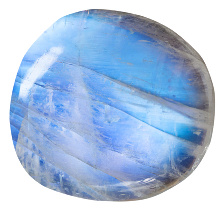 tumbled blue moonstone (adularia) natural mineral gem stone isolated on white background