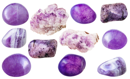 set of natural mineral gemstones - various amethyst gem stones isolated on white background
