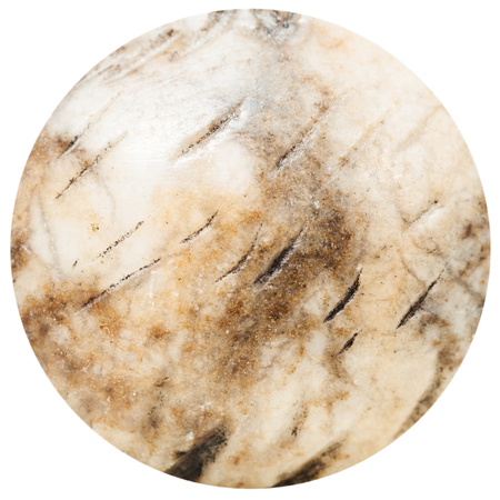 gemmology: round bead from anhydrite natural mineral gem stone isolated on white background