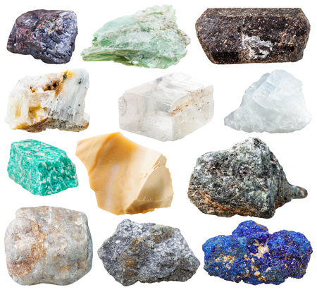 cuprite: set of natural rocks and stones - tourmaline dravite, talc, azurite, galena, iceland spar, cuprite, amazonite, magnesite, gneiss, quartz, flint, marble gem stones isolated on white background