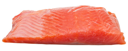 slightly: slightly salted trout red fish fillet piece isolated on white background
