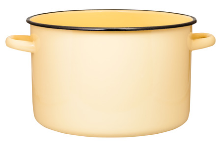 stockpot: side view of big yellow enamel stockpot isolated on white background